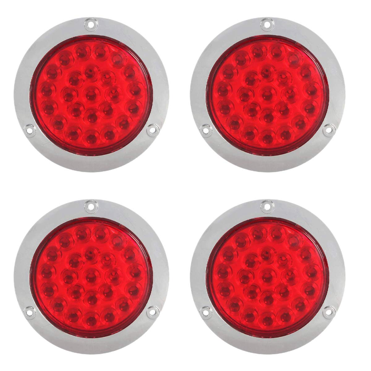 TOOGOO 4 Pack Round Led Trailer Tail Lights Red 24 Led Flange Mount Waterproof Chrome 4 Brake Stop Turn Lights