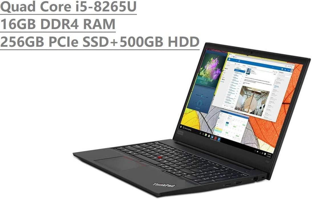 "2019 Lenovo Thinkpad E590 15.6"" HD Business Laptop (Intel Quad Core i5-8265U, 16GB DDR4 RAM, Toshiba 256GB PCIe NVMe SSD + 500GB HDD) Type-C, HDMI, Ethernet, Webcam, Windows 10 Pro"