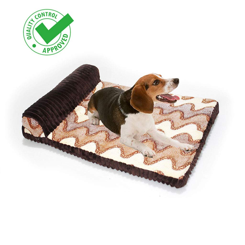 BROWN Yee Big Dog Bed Pet Mat Pet Supplies Removable Wash Pet Mat (100  75cm) Red Brown (color   BROWN)