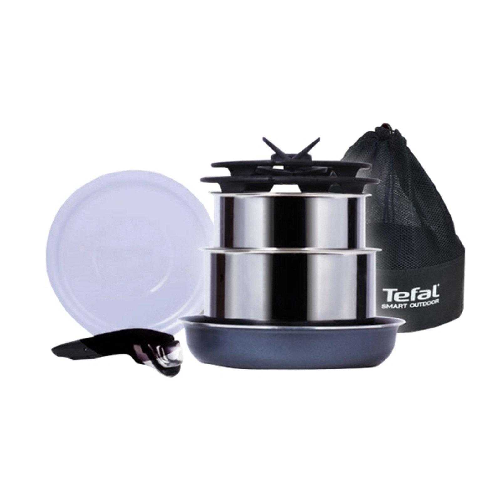 Tefal Smart Outdoor Magic Hands Camping 7P Set Stainless Pot Fry Pan Glass Lids
