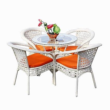 SEEKSUNG juego de mesa y silla, sillón de ratán PE hecho a ...