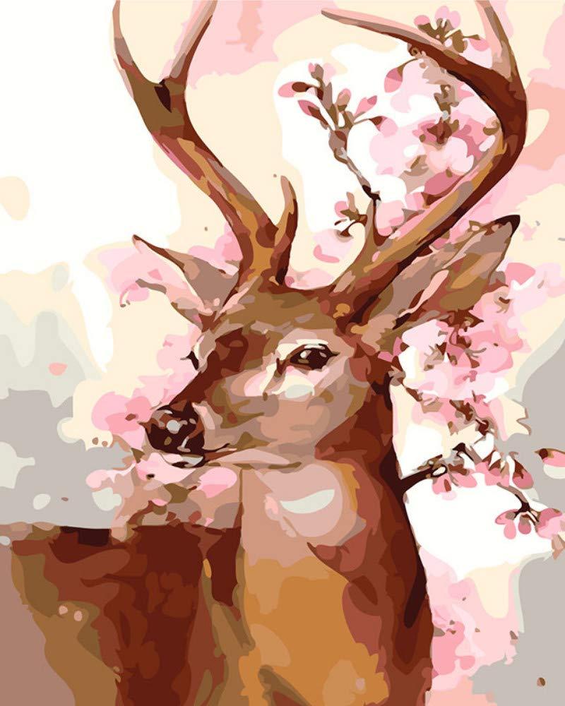 wanghan Pintura por números Animal Deer Pintura DIY por Digital Dibujado A Mano Pintura Animal por Digital Kit Familia Arte De Pared Imagen Navidad Arte Regalo