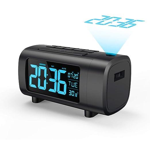 Mpow Radio despertador FM con proyección, despertador con ...