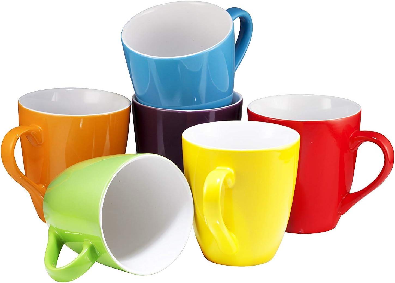Coffee Mug Set Set Of 6 Large Sized 16 Ounce Ceramic Coffee Mugs Restaurant Coffee Mugs By Bruntmor Multi Color Amazon Sg Home