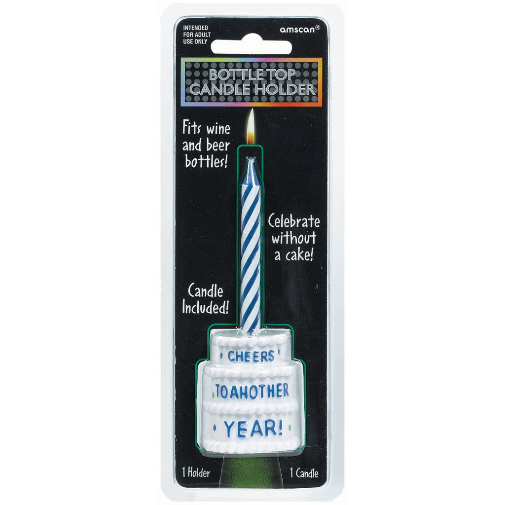 The Party Continuous Adult Birthday Party Cheers to Another Year Beer Bottle Candle Holder , Blue/White , 7 3/4'' x 2 1/2'' wax