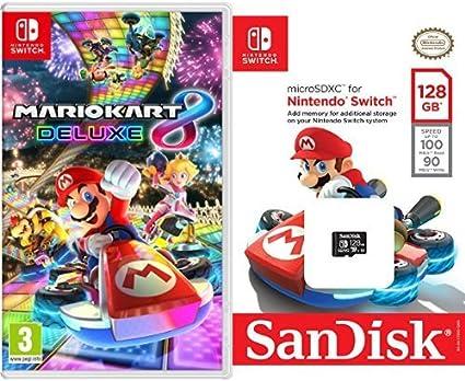 Mario Kart 8 Deluxe + SanDisk - Tarjeta microSDXC de 128 GB para ...