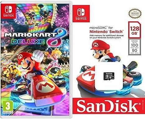 Mario Kart 8 Deluxe + SanDisk - Tarjeta microSDXC de 128 GB para Nintendo Switch: Amazon.es: Videojuegos
