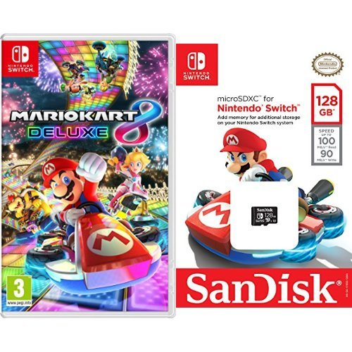 Mario Kart 8 Deluxe + SanDisk - Tarjeta microSDXC de 128 GB ...