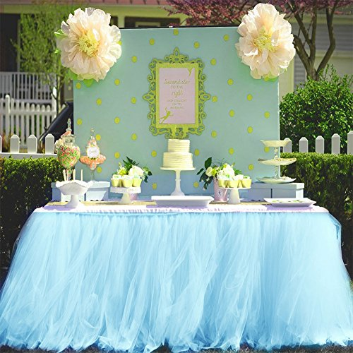 Haperlare 3ft Light Blue Tulle Table Skirt Queen Wonderland Blue Tutu Tablecloth Skirting Tutu Table Skirt for Christmas Wedding Baby Shower Birthday Cake Dessert Table Decorations 31 x 36 inch