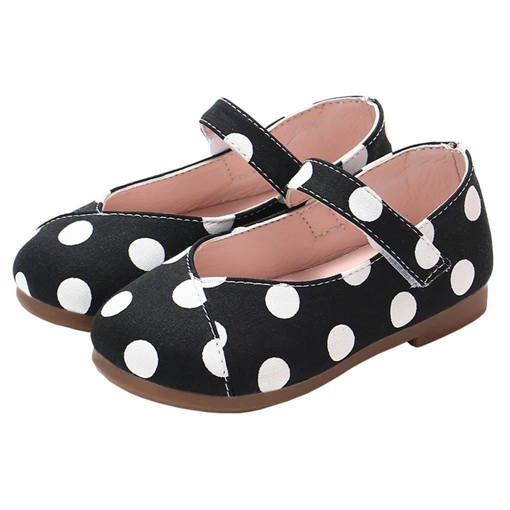 Toddler Little Girls Polka Dot Mary Jane Slip-on Ballerina Flats Dress Shoes Black Size 24