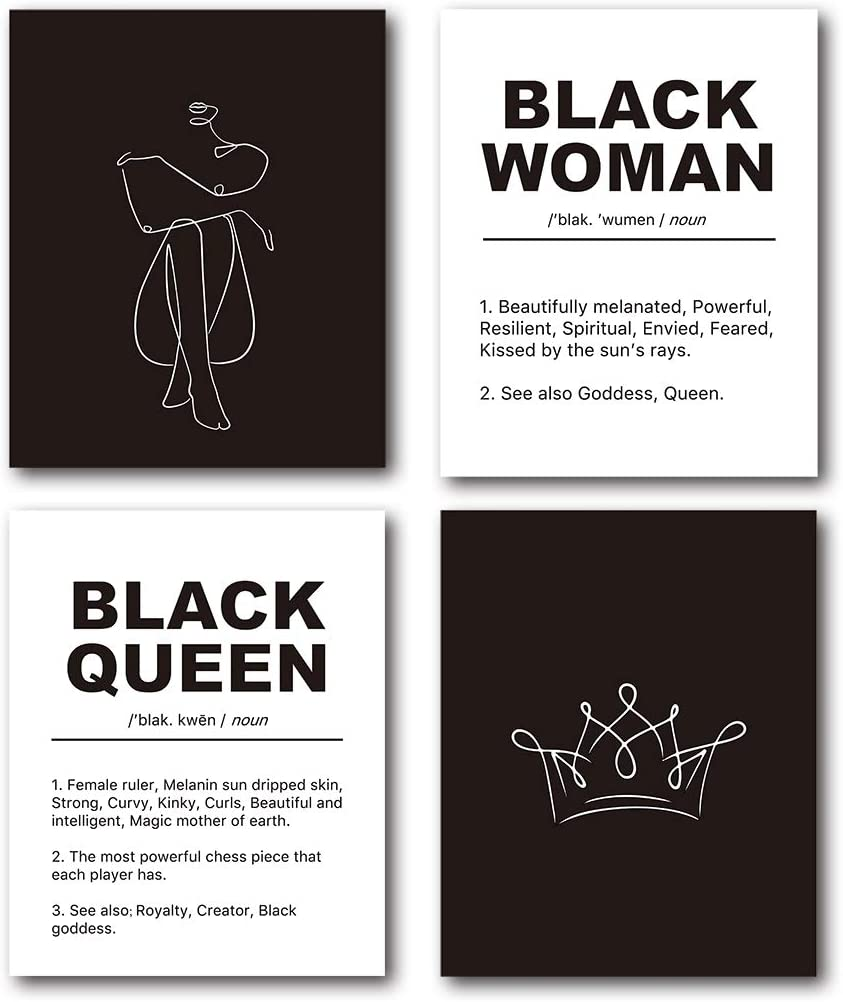 XUWELL Inspirational Quotes Abstract Line Black Queen Woman Wall Art Prints, Modern Minimalist Wall Art Decor for Black Women Bedroom Bathroom, 8 x 10 Inch Set of 4 Prints, Unframed