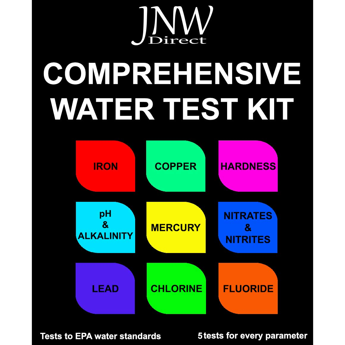 JNW Direct Water Test Kit for Heavy Metals - Lead, Iron, Copper, pH, Hardness, Fluoride, Mercury and More, Best Kit for Drinking Water Testing to EPA Standards