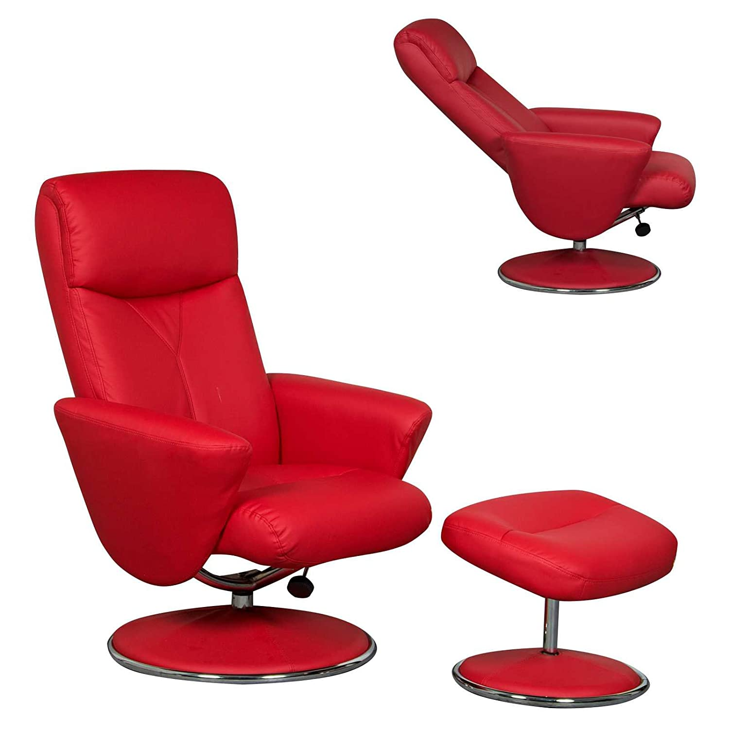 The Alizza Leather Effect Swivel Recliner Relaxer Chair in Red
