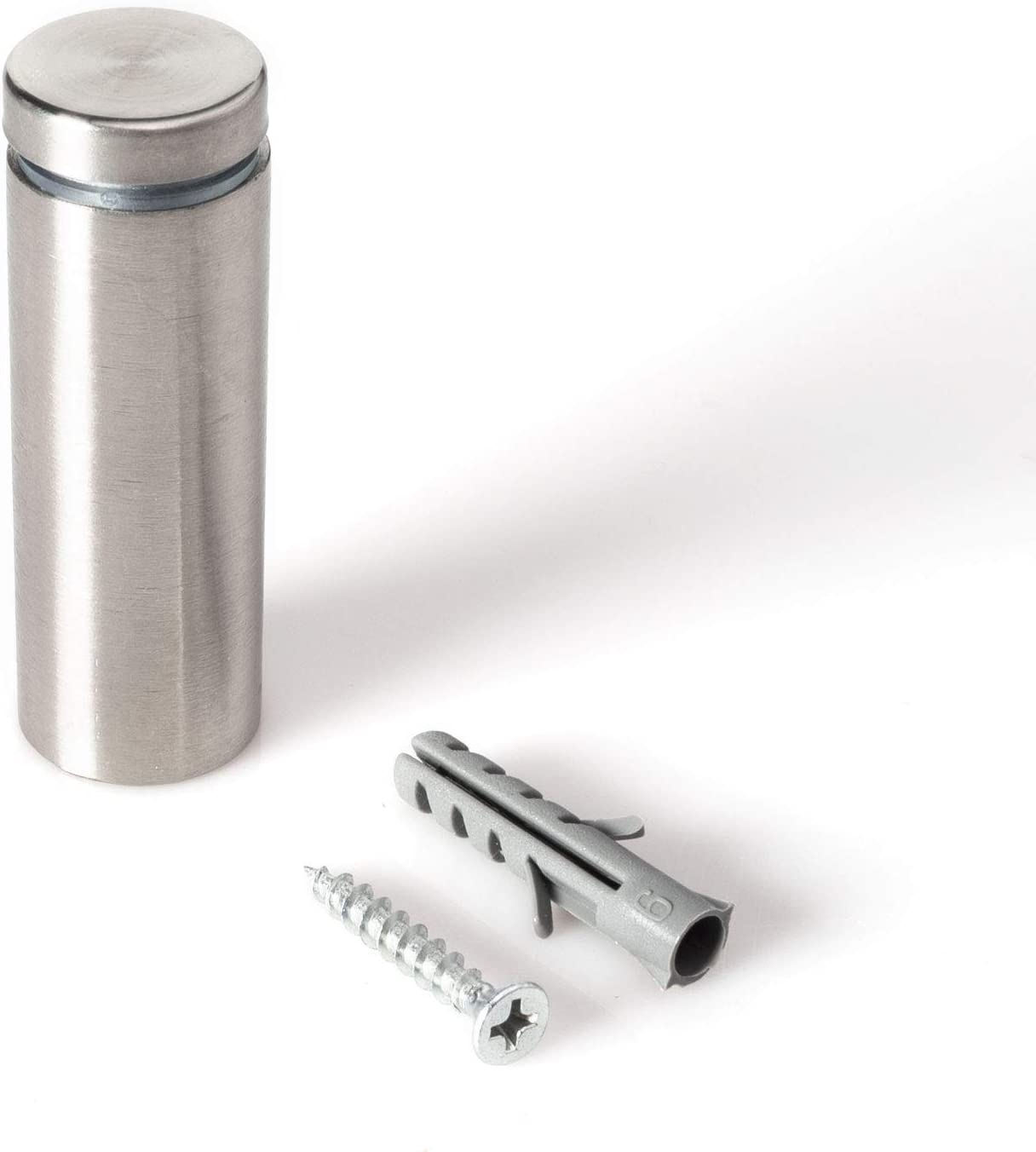 Stainless Steel Standoff 3//4 Inch Diameter x 2 Inch Barrel Length Brushed Finish for PVC Glass and Acrylic Sign Stand Off Wall Anchors and Screws 2 Piece Small Sign Pack