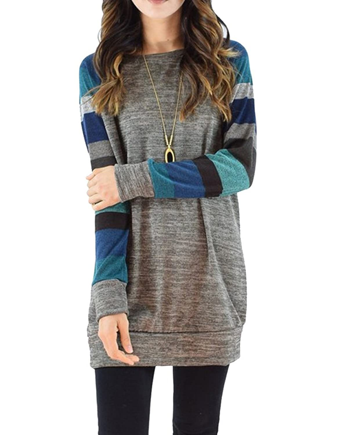 Leapparel Women's Cotton Knitted Long Sleeve Tunic Jumper Sweatshirt  Leisure T-Shirt Dress Tops: Amazon.co.uk: Clothing