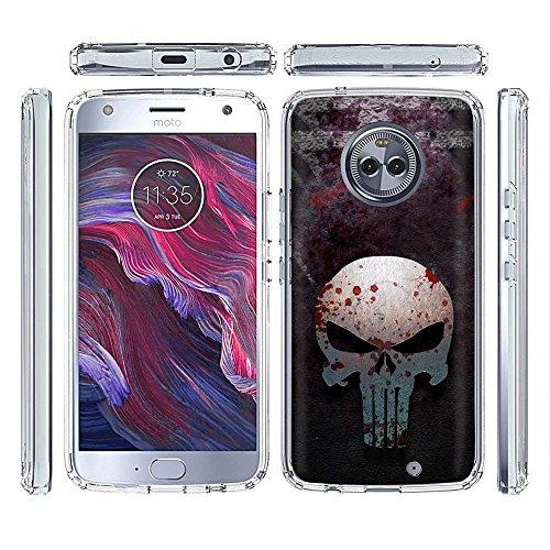 [PlusBrite] Motorola Google Moto X4 Case Slim Fit Gummy Gel Skin Phone Case [Punisher ()