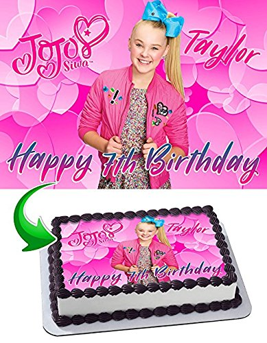 Amazon JoJo Siwa Joelle Joanie Edible Cake Topper Personalized Icing Sugar Paper A4 Sheet Birthday Party Decoration Image Everything