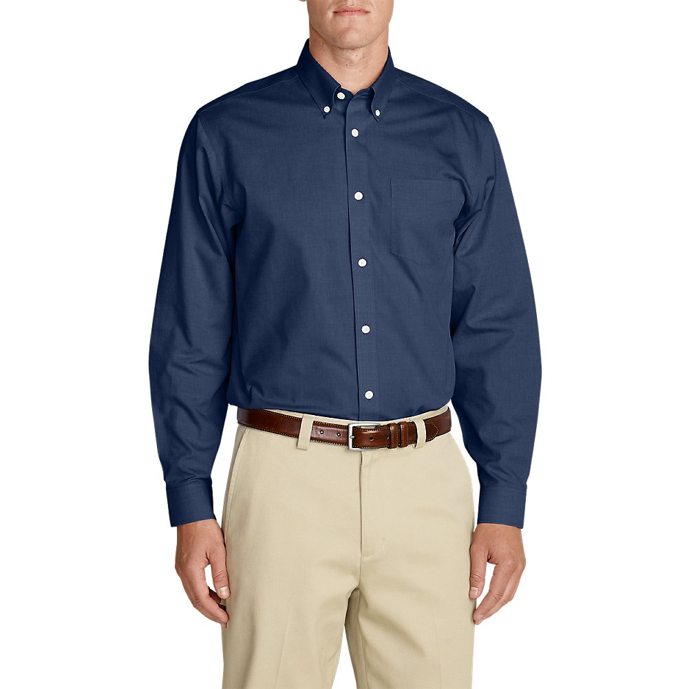 Eddie Bauer Men's Wrinkle-Free Relaxed Fit Pinpoint Oxford Shirt - Solid Long-Sl by Eddie Bauer