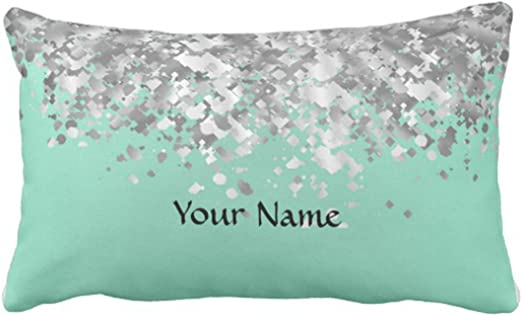 Emvency Throw Pillow Cover Pale Mint Green and Faux Glitter Personalized  Decorative Pillow Case Girly Home Decor Rectangle Queen Size 11x11 Inch