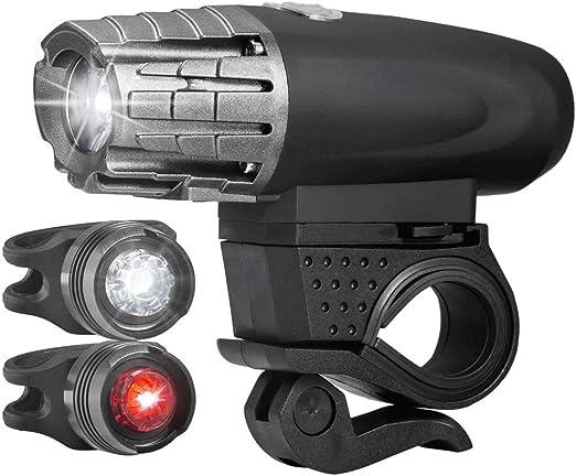 DFRgj Juego de luces para bicicleta Luz delantera y trasera LED ...