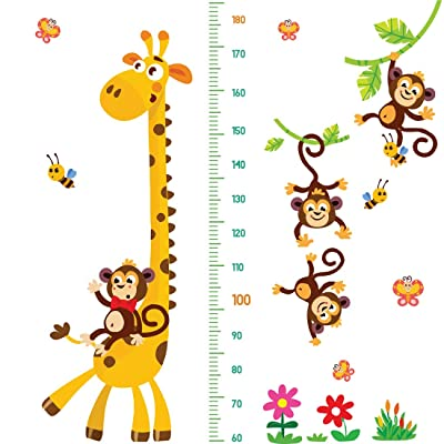DEKOSH Giraffe & Monkeys Kids Height Wall Chart | Peel & Stick Nursery Wall Decals for Baby Bedroom, Toddler Playroom: Arts, Crafts & Sewing