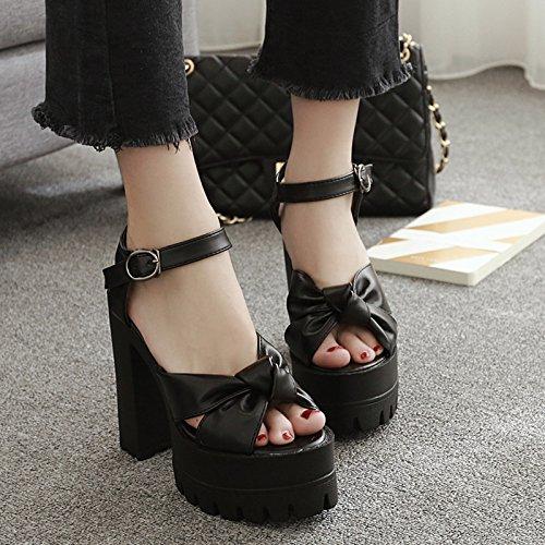 RUGAI-UE Sandalias de tacón grueso y sandalias de tacón de moda europea y americana black