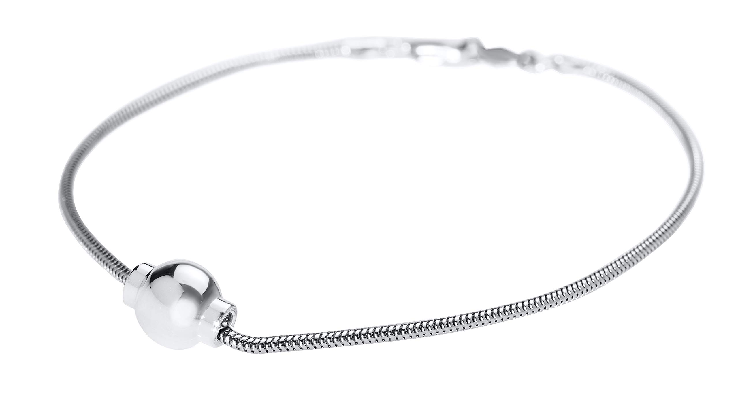 Lighthouse Creations Sterling Silver Single Ball Snake Chain Anklet Lobster Claw Clasp, 10''