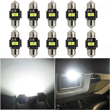 WLJH 10 x Canbus bianco 3030 LED DE3021 DE3022 28 mm 29 mm lampadina festone auto interno cupola mappa lettura sole luce specchio
