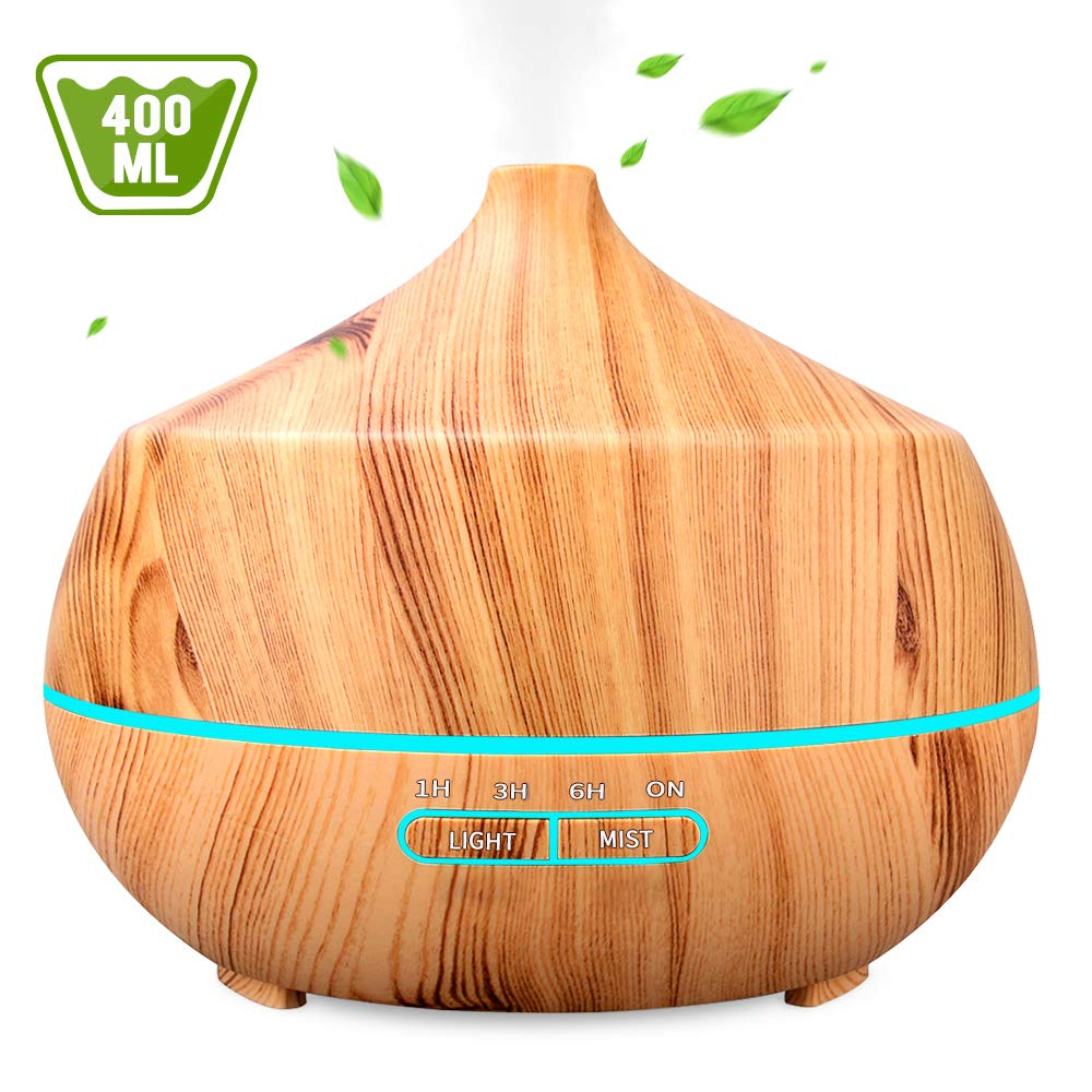 Aromatherapy Essential Oil Diffuser 400ML, INSMART Ultrasonic Cool Mist Humidifier with 7 Color LED Lights| 4 Timer| Waterless Auto Off for Bedroom Office Yoga Spa - Light Wood Grain by INSMART