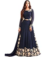 Aryan Fashion Women's Georgette Dress Material (AFB_10636_Free Size_Blue)