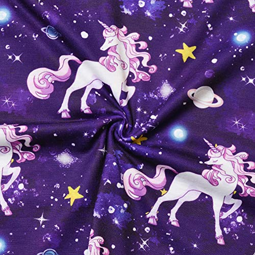 Girls Unicorn Dresses Long Sleeve Kids Starry Sky Casual Cotton Dress Outfits by Jxstar (Image #3)