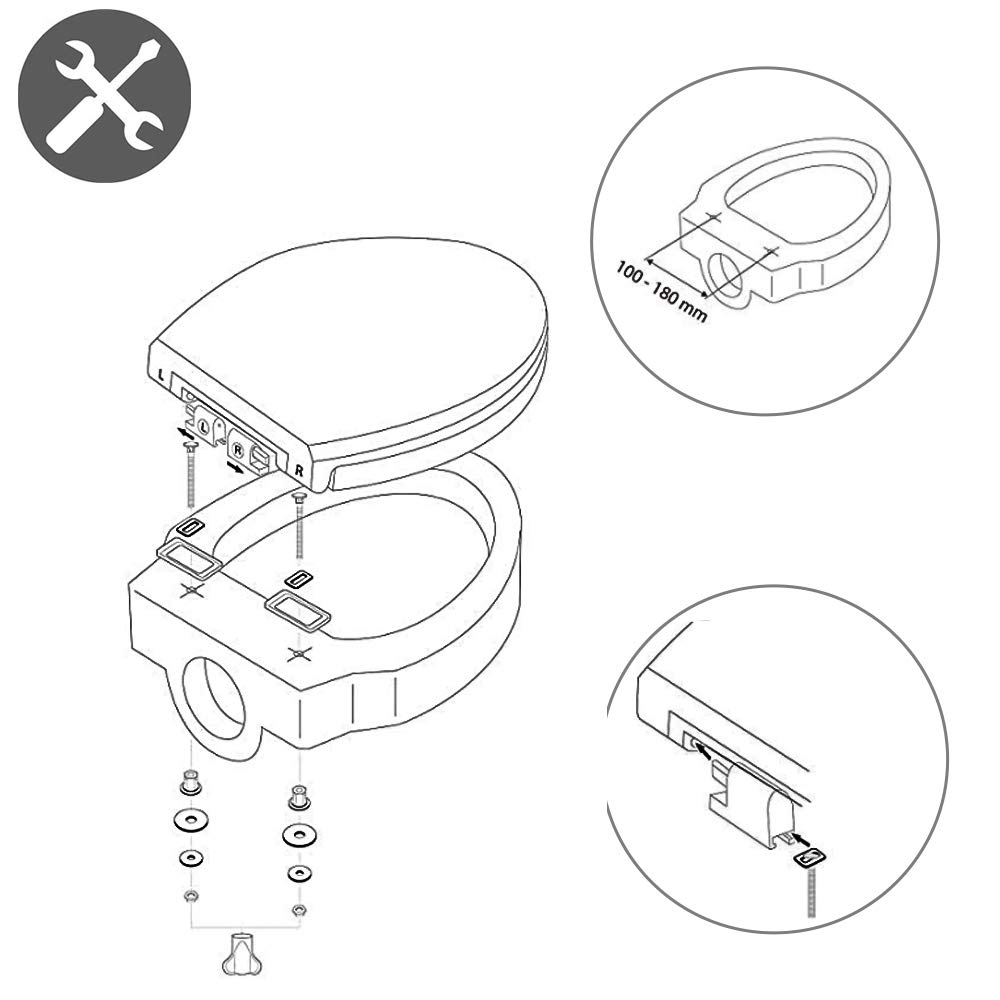 cubierta de asiento de inodoro familiar antibacteriano wolketon Asiento de inodoro de alta calidad con cierre suave Asiento de inodoro de madera MDF con patr/ón de autodescarga