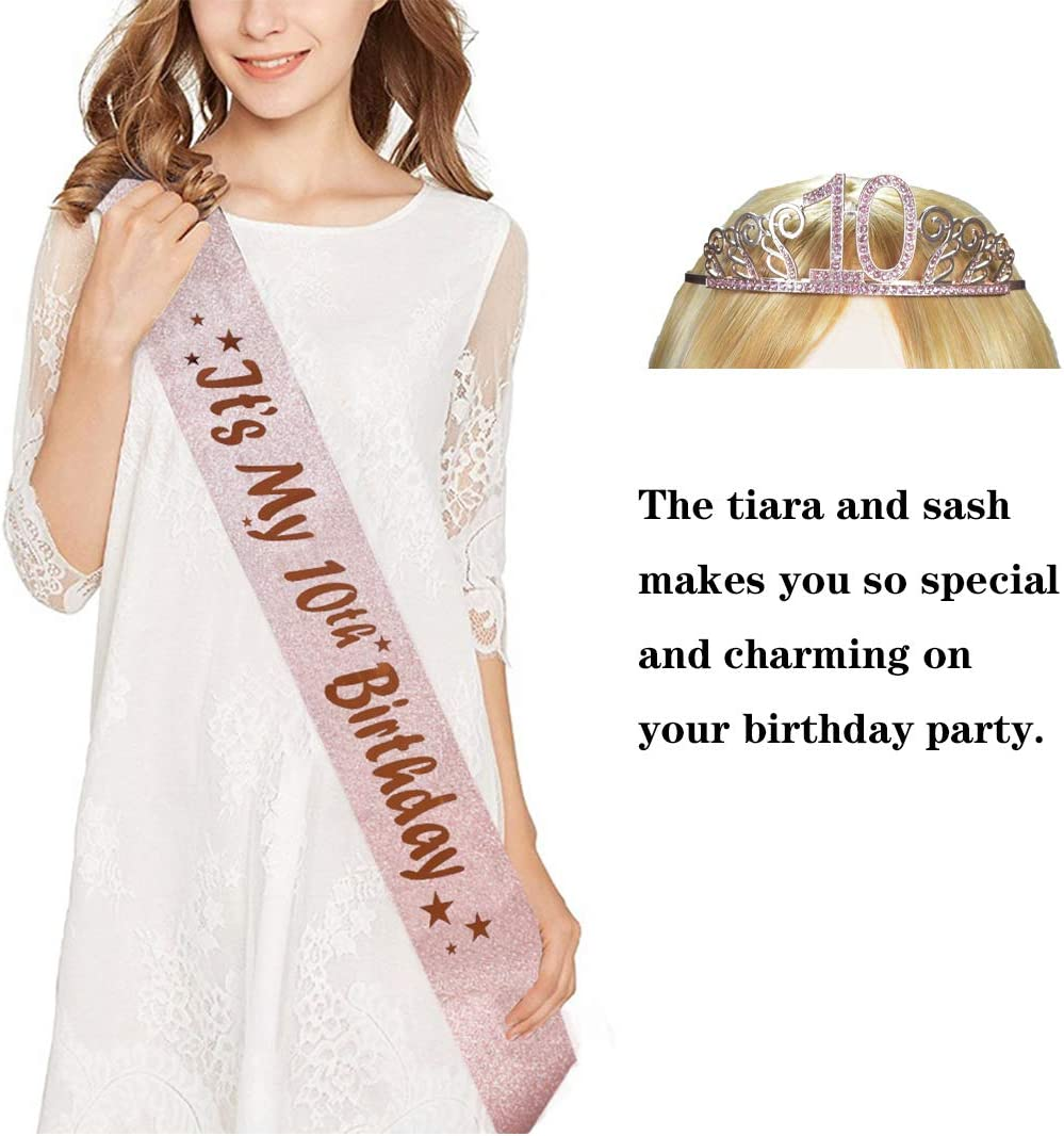 10th Pink Birthday Tiara and Sash Pink Glitter Satin Sash and Crystal Rhinestone Tiara Crown for Happy 10th Birthday Party Supplies Favors Decorations 10th Birthday Party Accessories