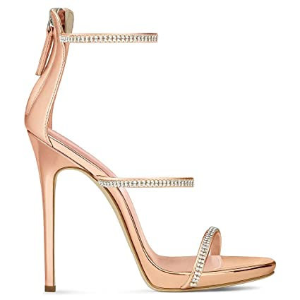 8f9af9efb3aaa GONGFF Big Size Gold Hot Diamond High Heel Sandals Rose Gold Fashion Shoes  Dinner Shoes