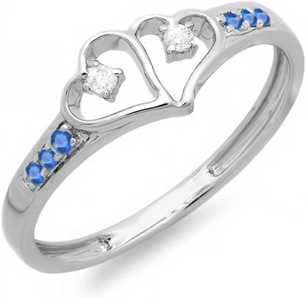 Dazzlingrock Collection Round White Diamond And Blue Sapphire Ladies Promise Double Heart Love Engagement Ring, Sterling Silver