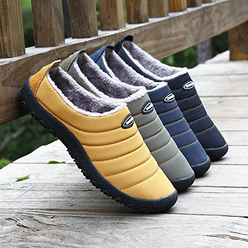 for Slip Non Slippers Winter Women Back Half Closed Warm House Indoor Lined amp;Outdoor Voovix Fur Navy Men qFWOcw4xq7