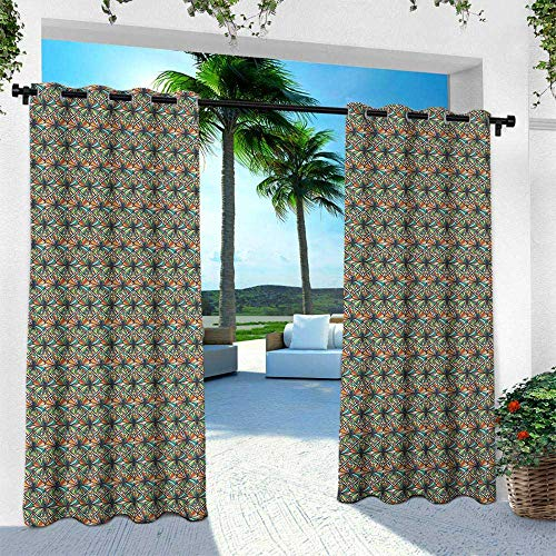 Hengshu Abstract, Outdoor Curtain for Patio,Outdoor Patio Curtains,Mosaic Pattern with Colorful Ornamental Motifs Retro Style Symmetric Illustration, W108 x L108 Inch, Multicolor