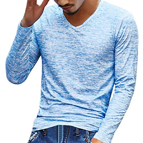 Vovotrade Mens Luxury Solid V Neck T-Shirt Long Sleeve Slim Fit Blouse Casual Tops (XL, Blue)