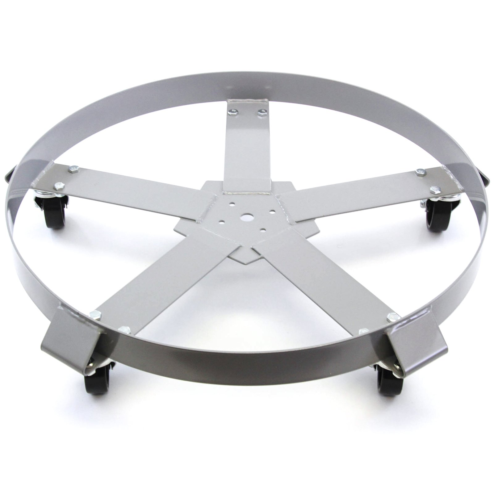 Extra Heavy Duty 55 Gallon Drum Dolly Swivel Casters Steel Frame Non Tip 1250 lbs 5 Wheel