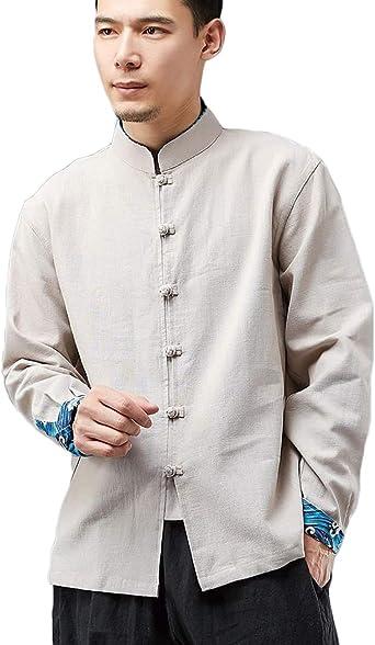 LZJN Hombres Camisas de Estilo Tradicional Chino Tang Traje Chaqueta de Kung Fu Camisa Informal: Amazon.es: Ropa y accesorios