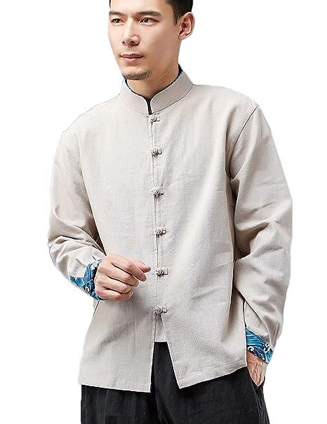 LZJN Hombres Camisas de Estilo Tradicional Chino Tang Traje ...