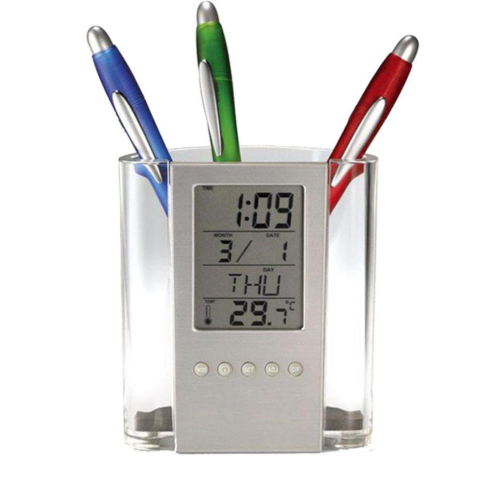 Un nuovo tipo di portapenne per scrivania con orologio digitale, il portapenne elettronico in grado di visualizzare TEMPO, DATA, TEMPERATURA e GIORNO DELLA SETTIMANA Portapenne sveglia facilmente visibile per l'Home Office. Jweal