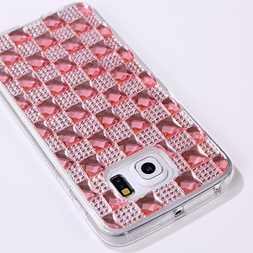 Galaxy S6 Edge Case, S6 edge tpu big Studded Rhinestone case,S 6 edge case with ,Vogue shop [Ultra Slim] [Perfect Fit] [Scratch Resistant] Handmade Crystal Bling Gold Flower Fashion Bags Diamond TPU Skin Case Cover For S6 Edge.High Impact Body Armor Hard flexible and durable TPU material Hard Cases Covers Protector For Samsung Galaxy S6 Edge 2015 New Release with one stylus /1 screen touch pen (rose)