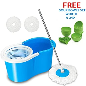 GTC Plastic 360 Degree Spin Floor Cleaning Easy Bucket Mop with 2 Microfiber Heads Get Soup Bowl Free (Multicolour)