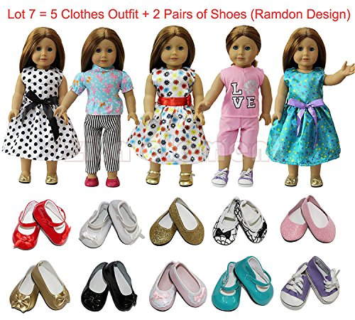 ZITA ELEMENT Doll Clothes- Lot 7=5 Daily Costumes Gown Clothes+ 2 Shoes fit for American Girl Doll and other 18 inches XMAS GIFT- Ramdon Style American Doll Outfits