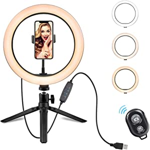 """10"""" LED Selfie Ring Light with Tripod Stand & Phone Holder for Live Stream/Makeup/YouTube Vide,Dimmable Led Camera Beauty Ringlight Compatible with iPhone and Android Phone(Upgraded) Remote"""
