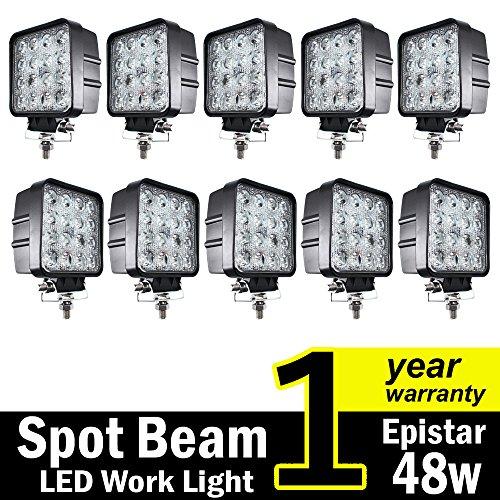 ( Pack of 10 ) TMH 48w Square Shape 30 Degree LED Work Light Spot Lamp Driving Light, Jeep, Off-road, 4wd, 4x4, Utv, Sand Rail, Atv, Suv, Motorbike, Motorcycle, Bike, Dirt Bike, Bus, Trailer, Truck (Led 10 Spot Degree)