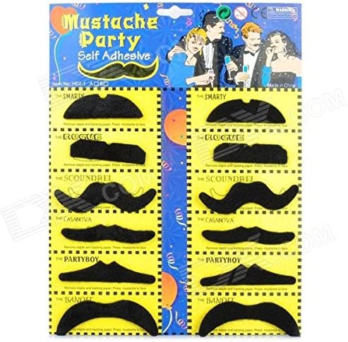 Details about  /12 Stick On Adhesive Fake Mustache Costume Western Cowboy Party Goody Bag Favor