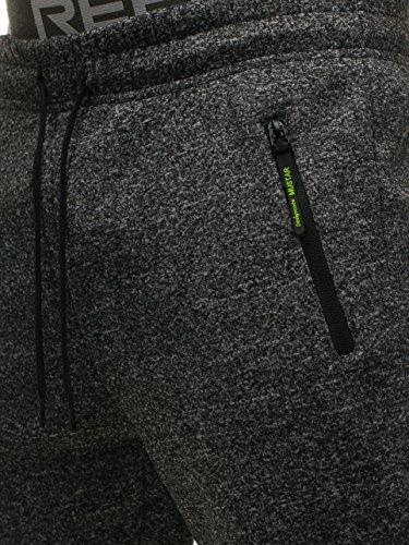Mix Fitness Motivo Gris jx8081 6F6 Grafito Deporte Entrenamiento Hombre Jogger Pantalones BOLF xgZ78g