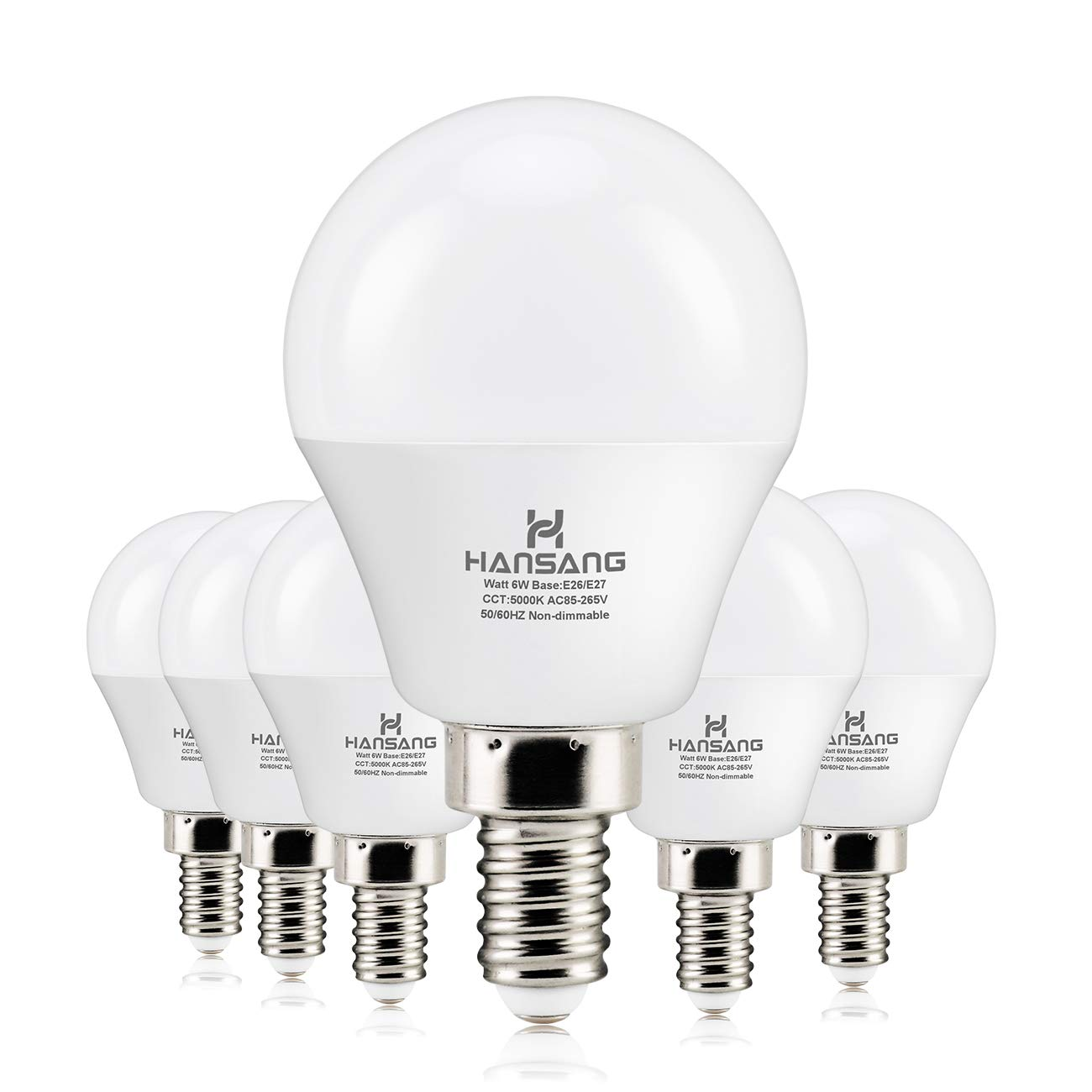 6 watt 60w Equivalent Hansang LED Bulbs Light E12 Screw Base Candelabra Round Bulb 600 Lumen High CRI Daylight 5000K G14 Decorative Bulb Non dimmable for Ceiling Fan 120V Pack of 6 Daylight 5000K